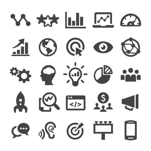 marketing icons - smart series - business icons stock illustrations, clip art, cartoons, & icons