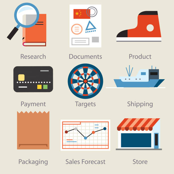 marketing icons -two - target australia stock illustrations
