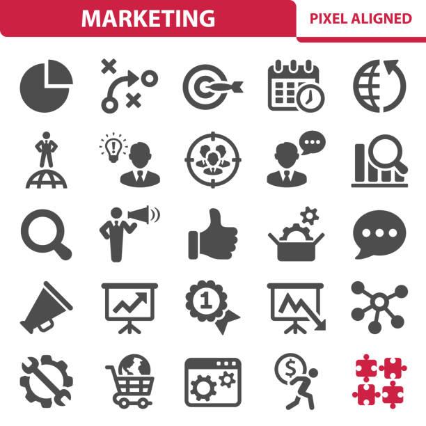 illustrazioni stock, clip art, cartoni animati e icone di tendenza di icone di marketing - focus group