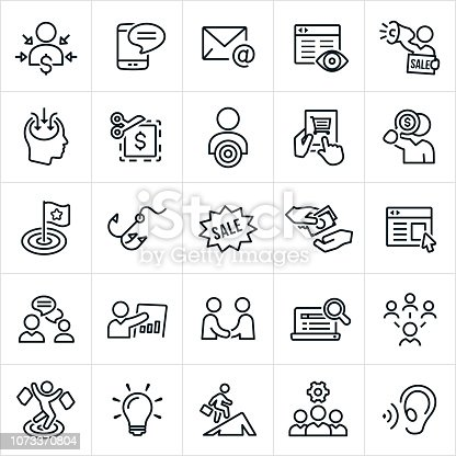 A set of marketing icons. The icons include direct marketing, target market, customer, consumer, marketer, marketing strategies, SMS, texting, email, website, internet marketing, megaphone, sale, coupon, buyer, online shopping, purchasing, target, hook, persuasion, buying, web banner, advertising, banner ad, communication, handshake, agreement, online search, social media, shopper, light bulb and marketing team among others.