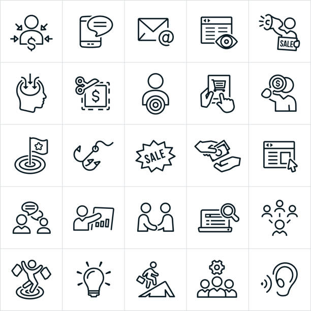 marketing icons - sprzedawać stock illustrations