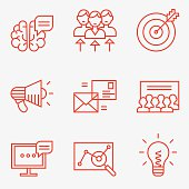 Marketing icons, thin line style, flat design