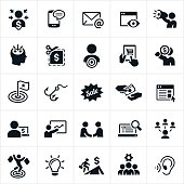 An icon set of marketing themed concepts. The icons include advertising used in marketing, marketers marketing to consumers and customers and the industry as a whole.