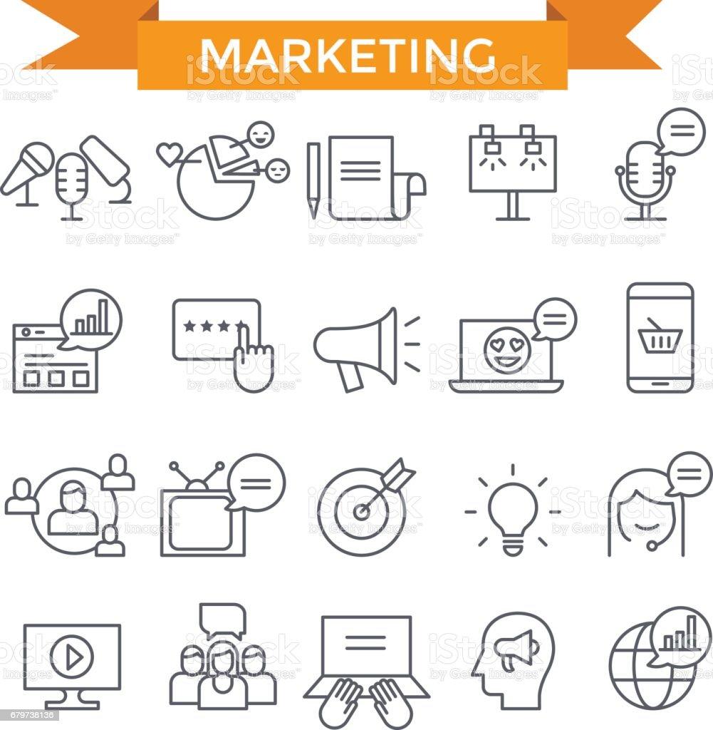 Iconos de comercialización. - ilustración de arte vectorial