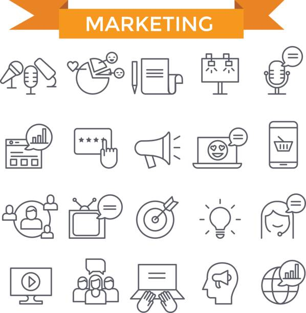 marketing icons. - thin line icons stock illustrations, clip art, cartoons, & icons