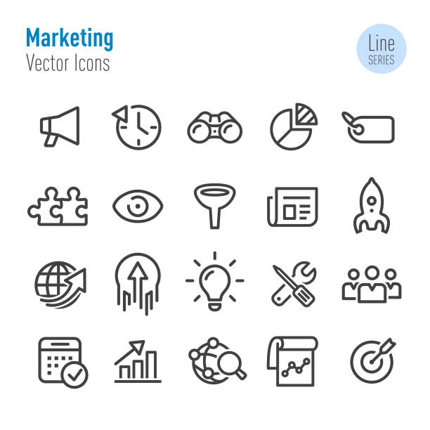 marketing icons - vector line series - part of a series stock illustrations, clip art, cartoons, & icons