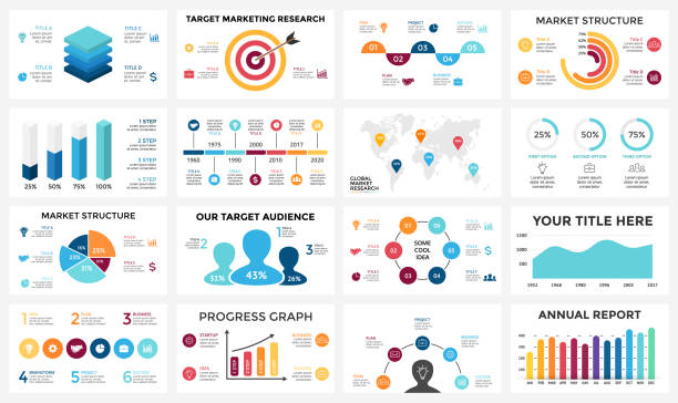 Marketing infographic, cycle diagram, global business graph, presentation chart. 3, 4, 5, 6, 7, 8 options, parts, steps, process. People audience report, target market, brain idea, world map timeline vector art illustration