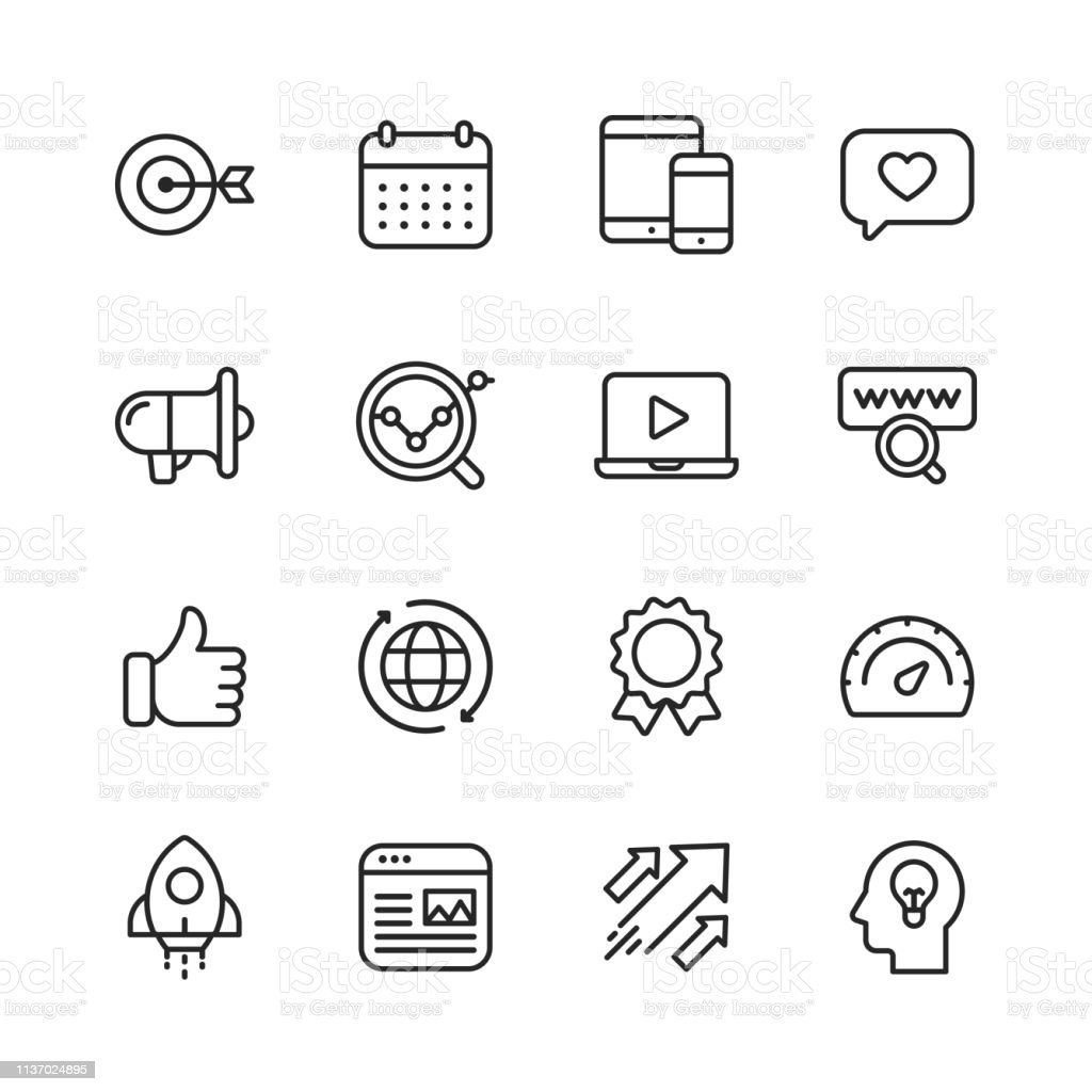 Marketing Line Icons. Editable Stroke. Pixel Perfect. For Mobile and Web. Contains such icons as Target, Growth, Brainstorming, Advertising, Social Media. - Grafika wektorowa royalty-free (Aplikacja mobilna)