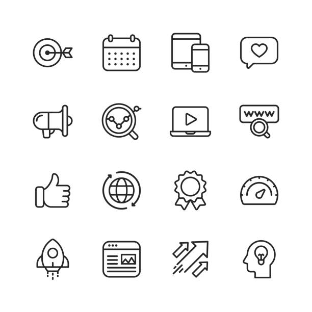 Marketing Line Icons. Editable Stroke. Pixel Perfect. For Mobile and Web. Contains such icons as Target, Growth, Brainstorming, Advertising, Social Media. 16 Marketing Outline Icons. seo stock illustrations