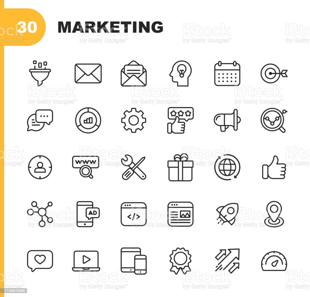 Marketing Line Icons. Editable Stroke. Pixel Perfect. For Mobile and Web. Contains such icons as Email Marketing, Social Media, Advertising, Start Up, Like Button, Video Ads, Global Business. 30 Marketing Line Icons. Icon stock vector