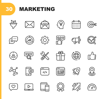 Marketing Line Icons. Editable Stroke. Pixel Perfect. For Mobile and Web. Contains such icons as Email Marketing, Social Media, Advertising, Start Up, Like Button, Video Ads, Global Business.