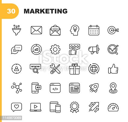 30 Marketing Line Icons.