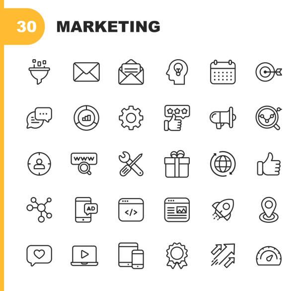 ikony linii marketingowych. edytowalny obrys. pixel perfect. dla urządzeń mobilnych i sieci web. zawiera takie ikony jak e-mail marketing, media społecznościowe, reklamy, uruchamianie, przycisk lubię to, reklamy wideo, globalny biznes. - biznes stock illustrations
