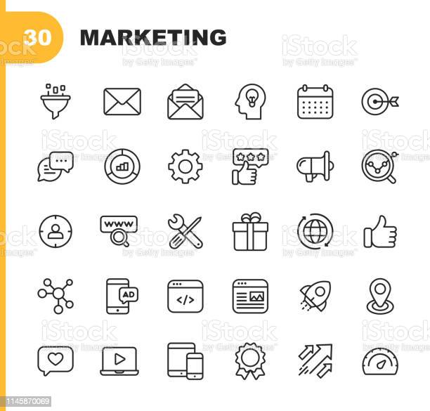 Marketing Line Icons Editable Stroke Pixel Perfect For Mobile And Web Contains Such Icons As Email Marketing Social Media Advertising Start Up Like Button Video Ads Global Business Stock Illustration - Download Image Now