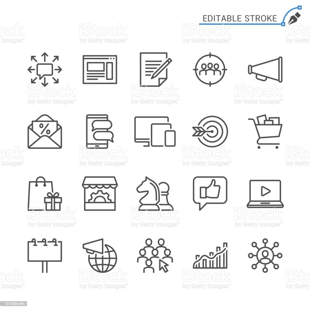 Marketing line icons. Editable stroke. Pixel perfect.