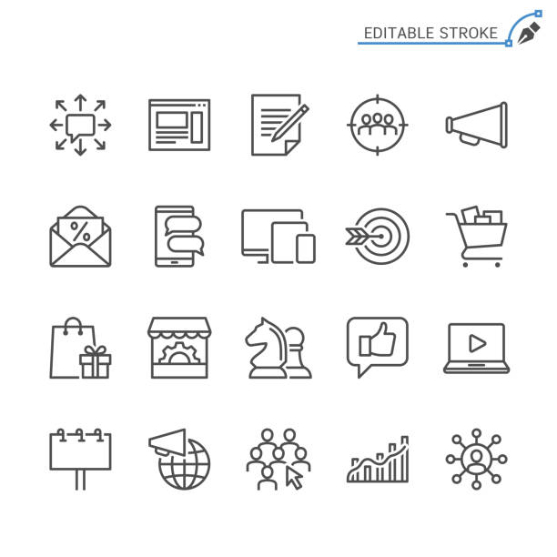 marketing-linie symbole. editierbare schlaganfall. pixel perfekt. - publikation stock-grafiken, -clipart, -cartoons und -symbole