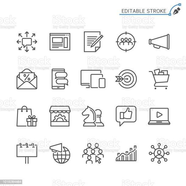 Marketinglinie Symbole Editierbare Schlaganfall Pixel Perfekt Stock Vektor Art und mehr Bilder von Artikel - Publikation