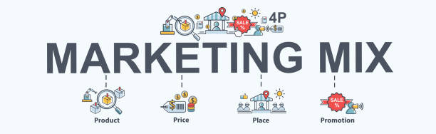 ilustraciones, imágenes clip art, dibujos animados e iconos de stock de mezcla de marketing 4p bandera icono de web para negocios y marketing, precio, lugar, promoción, producto. infografía de vector mínimo. - suministros escolares