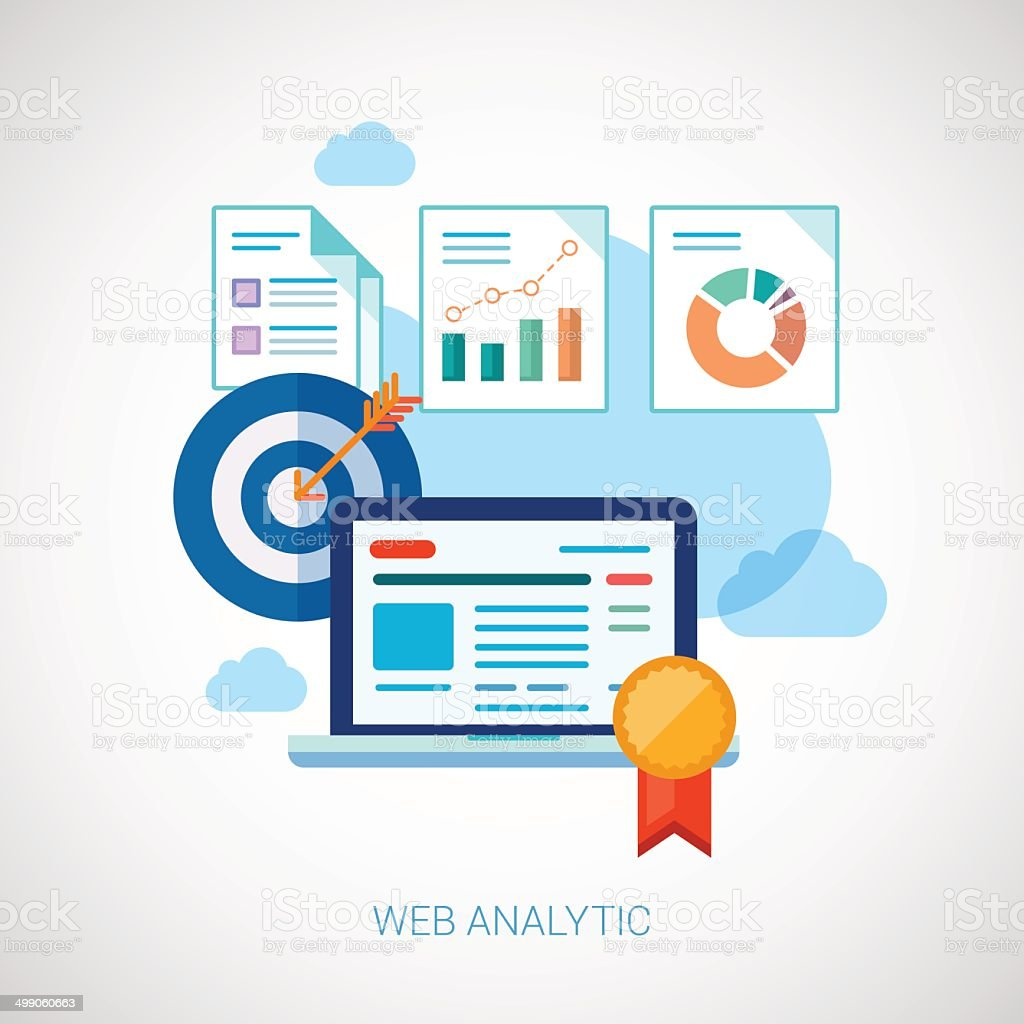 Marketing online analytic and optimization concept symbols. royalty-free stock vector art