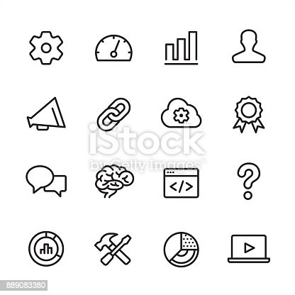 16 line black and white icons / Marketing Set #36