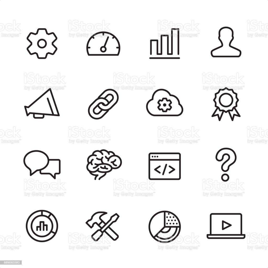 Marketing - outline icon set vector art illustration