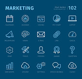 Marketing - 20 three-color outline icons with captions / Pixel Perfect Set #102 / Icons are designed in 48x48pх square, outline stroke 2px.\n\nFirst row of outline icons contains:\nCalendar, Diagram, Coding, Pie Chart, Laptop;  \n\nSecond row contains:\nMegaphone, Brain, E-mail, Link, Gauge;\n\nThird row contains:\nGear, Tools, Person, Award, Question;\n\nFourth row contains:\nBar Graph, Uploading, Settings, Speech Bubble, Cloud.\n\nComplete Captico icons collection - https://www.istockphoto.com/collaboration/boards/L98ewPMHpUStg1uF0pmcYg