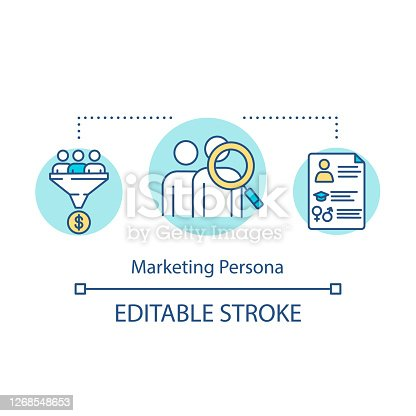 Marketing persona concept icon. Target audience representation. Commercial research. Product management idea thin line illustration. Vector isolated outline RGB color drawing. Editable stroke