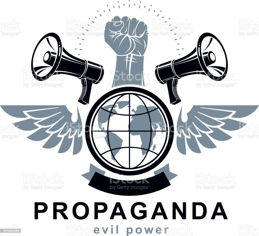 Marketing poster composed with megaphone device, Earth globe and raised clenched fist of revolutionary person, vector illustration. Propaganda as a powerful weapon of global influence on social behavior vector art illustration