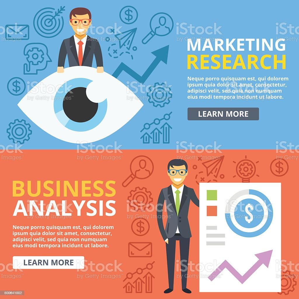 Marketing research, business analysis flat illustration concept set....