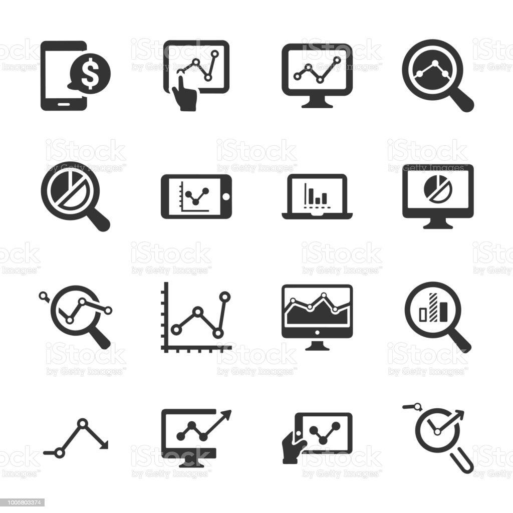 Icônes de recherche marketing - Version gris - Illustration vectorielle