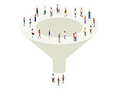 Illustration of a marketing sales funnel with a variety of people at the top and bottom
