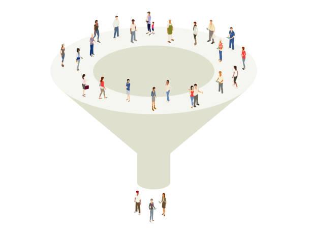 Marketing sales funnel vector art illustration