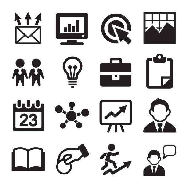 Marketing, SEO and Development icons set Marketing, SEO and Development icons set. Vector animal attribute stock illustrations