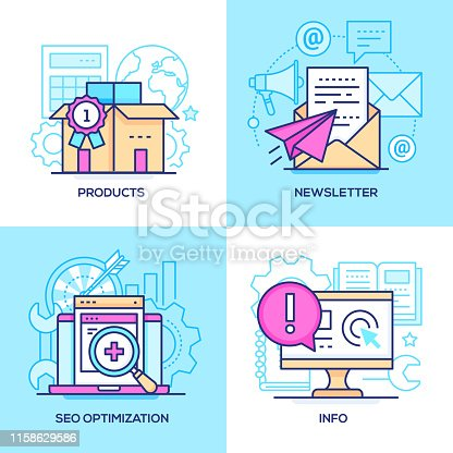 Marketing - set of line design style colorful illustrations. Images of a box, email and paper plane, laptop, magnifier, computer, book. Products, newsletter, SEO optimization, info concepts