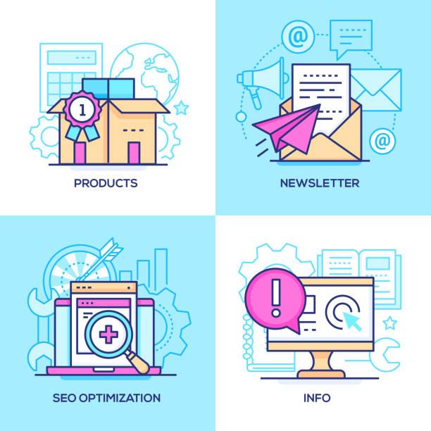 illustrazioni stock, clip art, cartoni animati e icone di tendenza di marketing - set of line design style colorful illustrations - newsletter