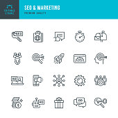Set of SEO & Marketing thin line vector icons