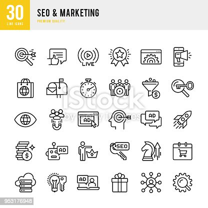 Set of 30 SEO & Marketing thin line vector icons