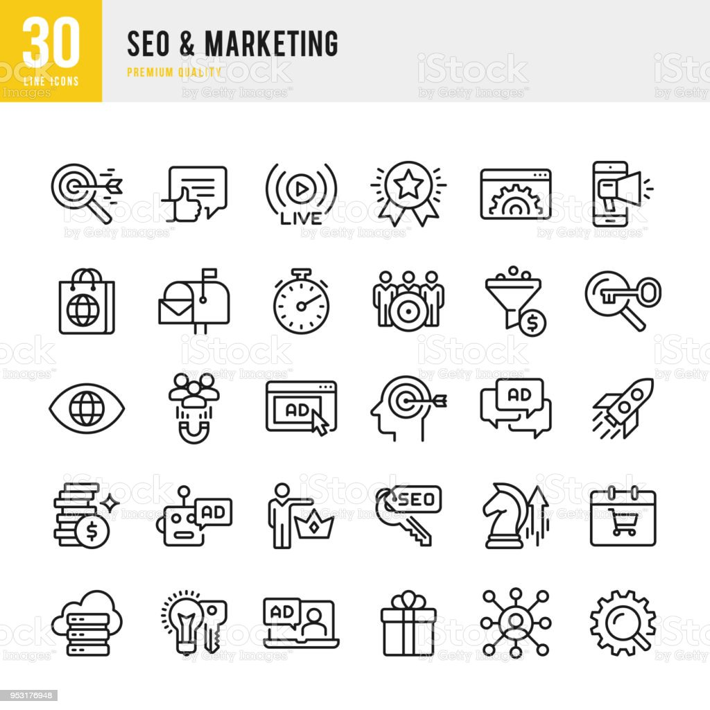 SEO & Marketing - set of thin line vector icons vector art illustration