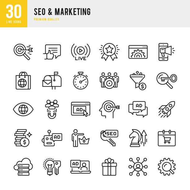 SEO & Marketing - set of thin line vector icons Set of 30 SEO & Marketing thin line vector icons seo stock illustrations