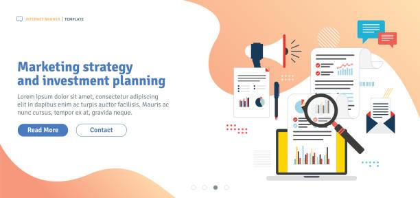 ilustraciones, imágenes clip art, dibujos animados e iconos de stock de estrategia de marketing y planificación de inversiones - planificación financiera