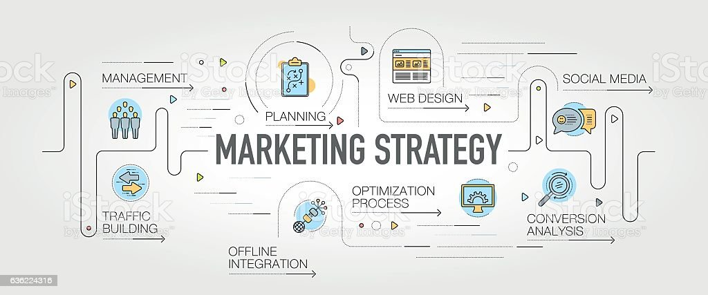 Marketing Strategy banner and icons vector art illustration