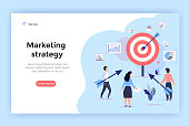Marketing strategy concept illustration, perfect for web design, banner, mobile app, landing page