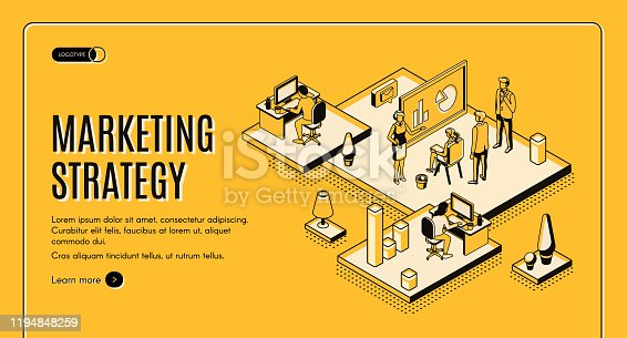 Marketing strategy isometric web banner, financial analytic company, agency working process in office, business people planning, analyzing data, doing presentation, 3d vector landing page, line art