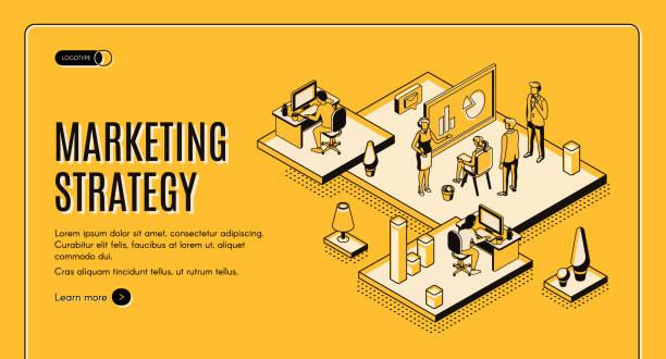 Marketing strategy, financial analytic company vector art illustration