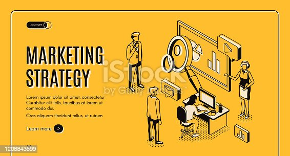 Marketing strategy isometric landing page, financial analytic company working process in office, business people planning, analyzing statistics data, doing presentation 3d vector, line art, web banner