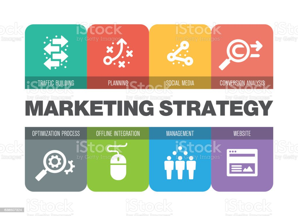 Marketing Strategy Icon Set vector art illustration