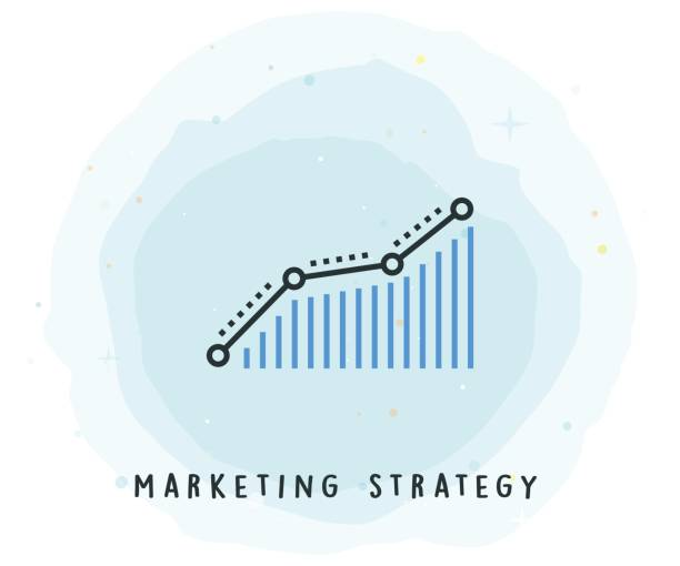 Marketing Strategy Icon with Watercolor Patch vector art illustration
