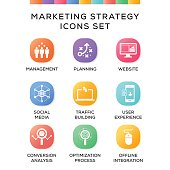 Marketing Strategy Icons Set on Gradient Background