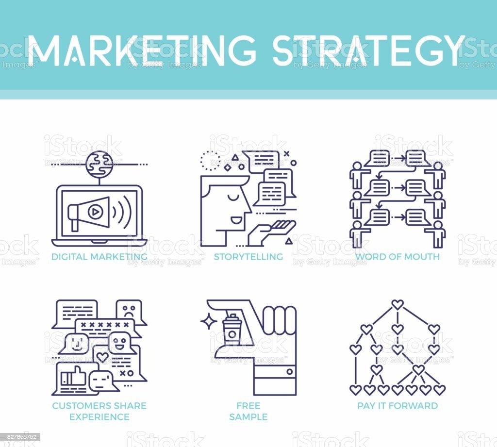 Marketing strategy illustration icons vector art illustration