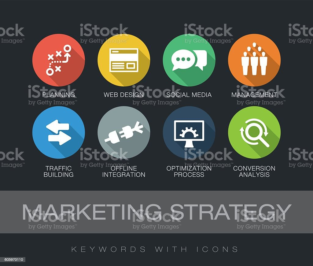Marketing Strategy keywords with icons vector art illustration